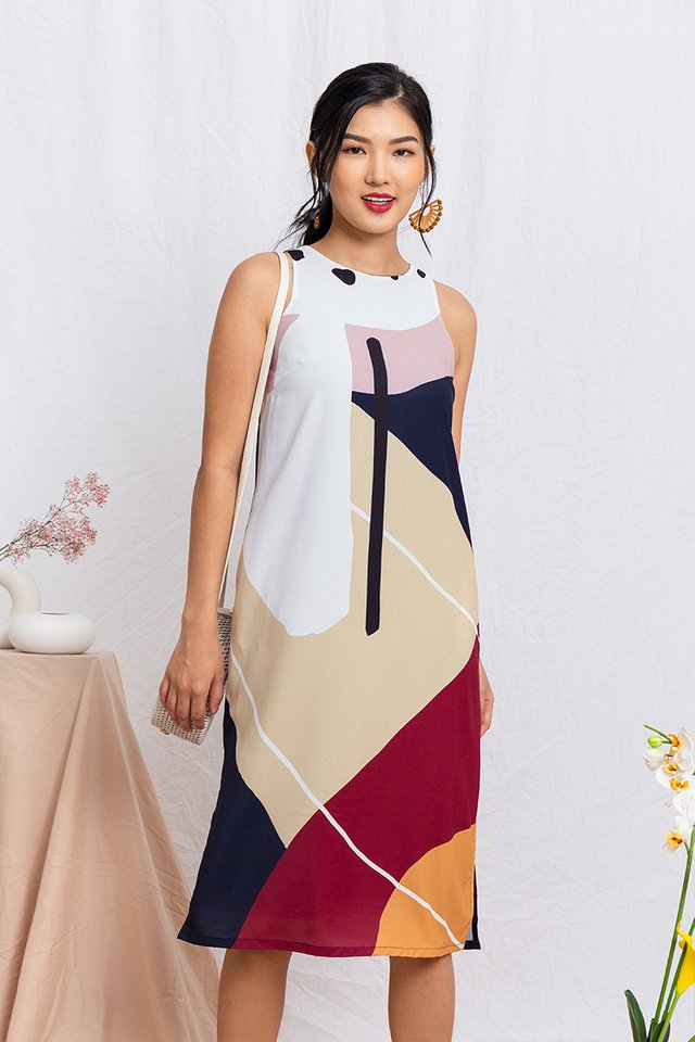Art Deco Abstract Midi Dress in Fall Neutrals