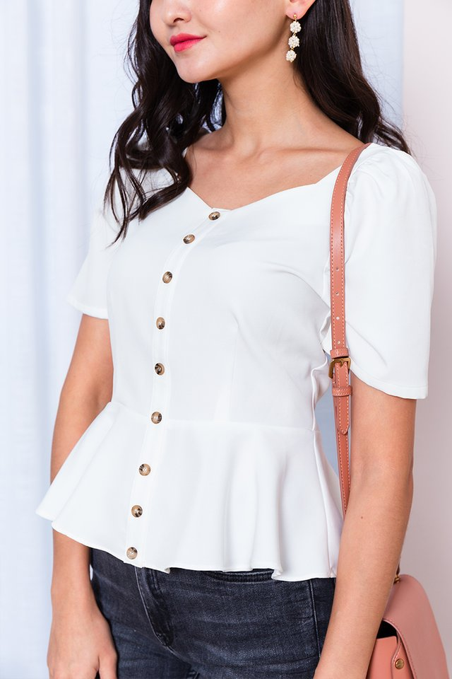 Au Naturel Peplum Top in White