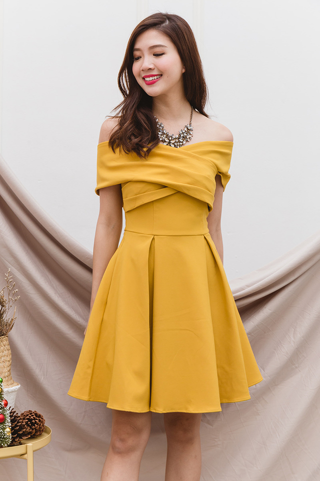 Azalea Cross Shoulders Dress in Mustard