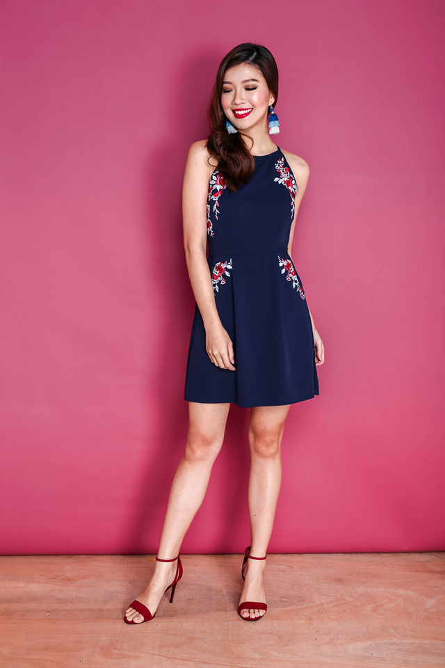Blessings Aplenty Floral Embroidery Dress in Navy