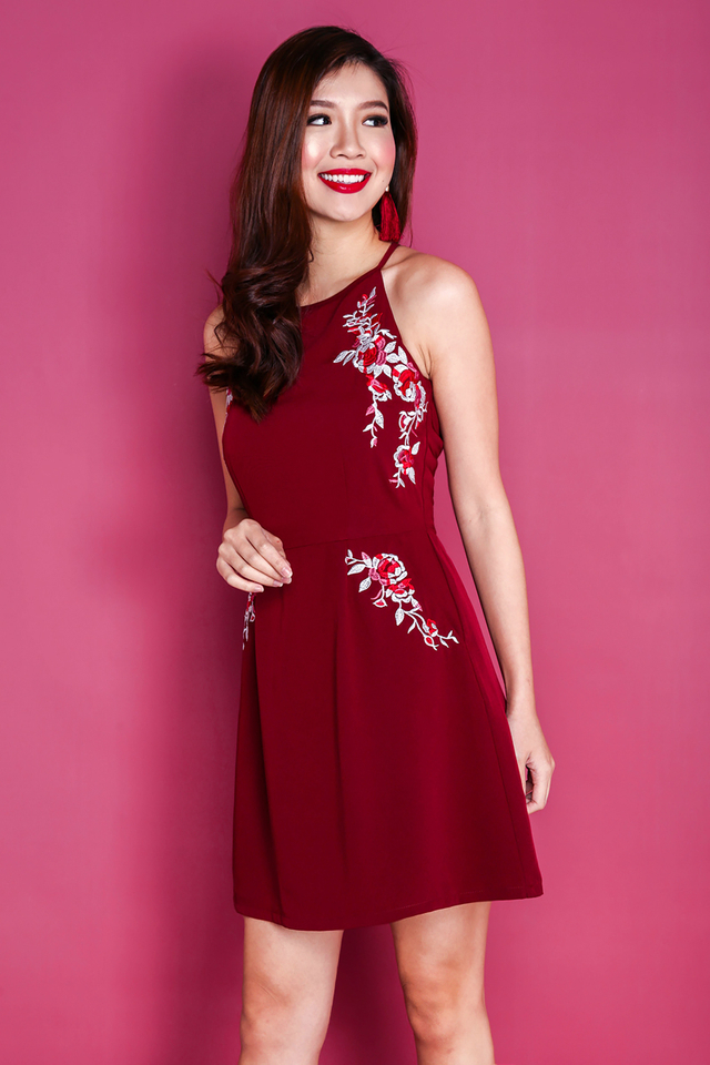 Blessings Aplenty Floral Embroidery Dress in Wine Red