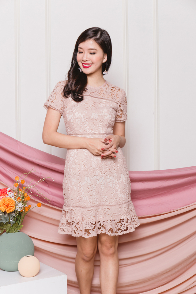 Brimming with Happiness Crochet Dress in Baby Pink