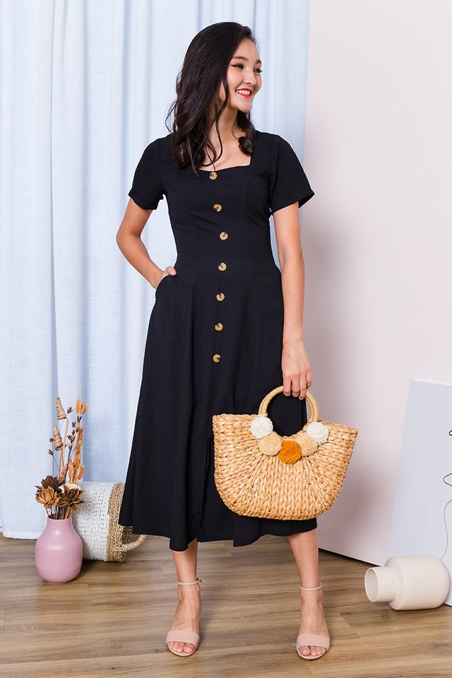 Carly Buttons Dress in Black