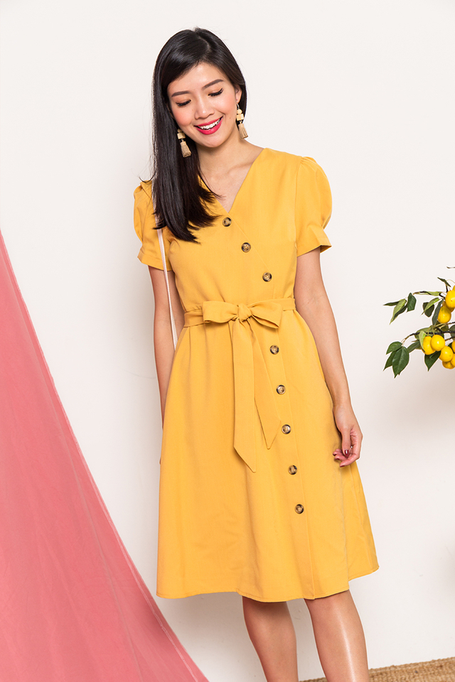 Claire Vintage Buttons Dress in Amber Yellow