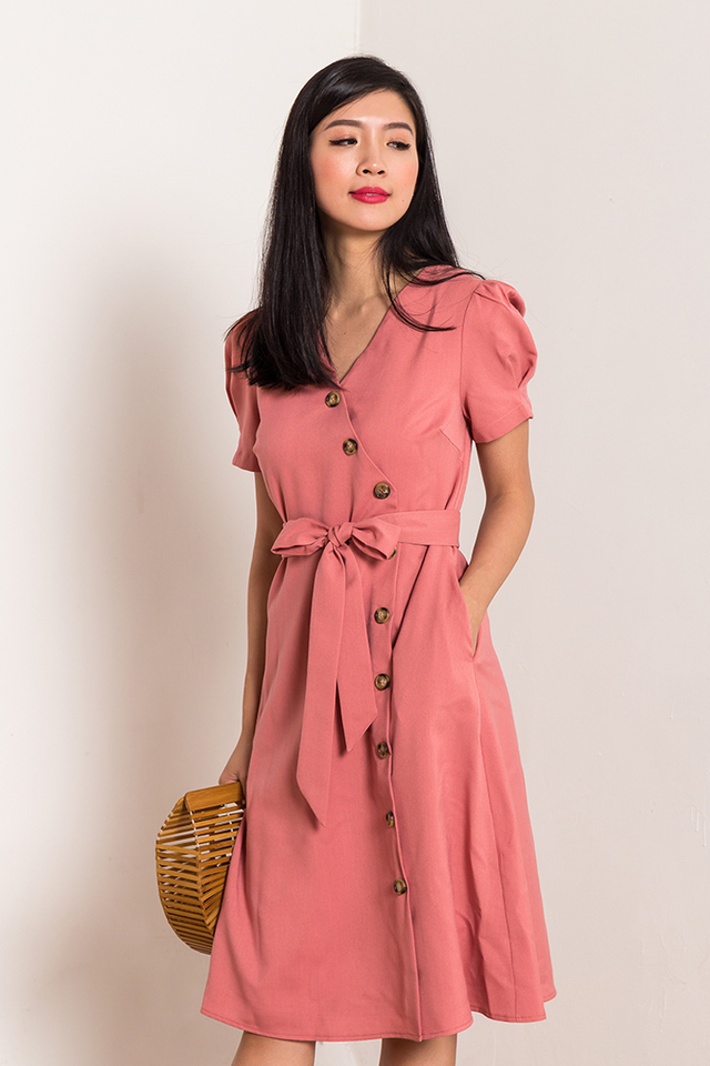Claire Vintage Buttons Dress in Tea Rose