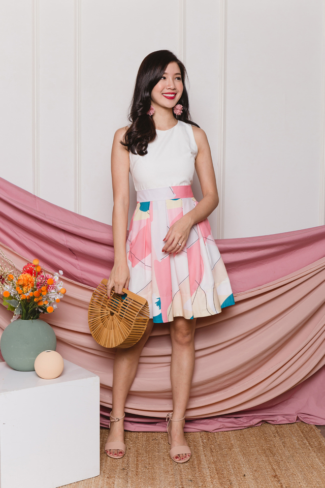 Colourful Harvest Pleated Dress in Bubblegum Pink