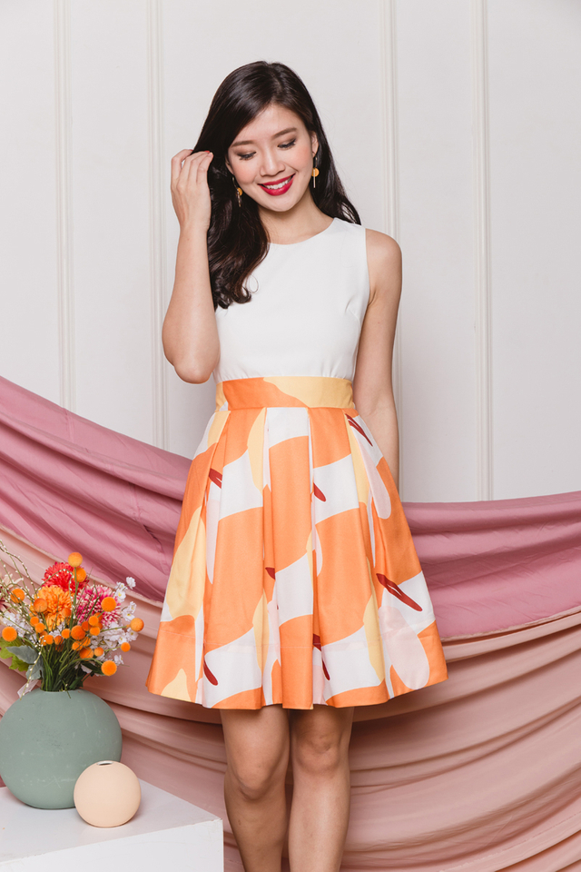 Colourful Harvest Pleated Dress in Marigold
