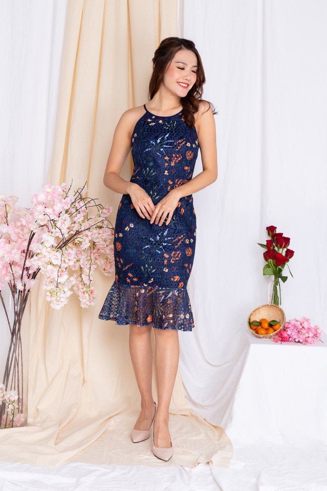 Colours of Celebration Lace Mermaid Dress in Navy