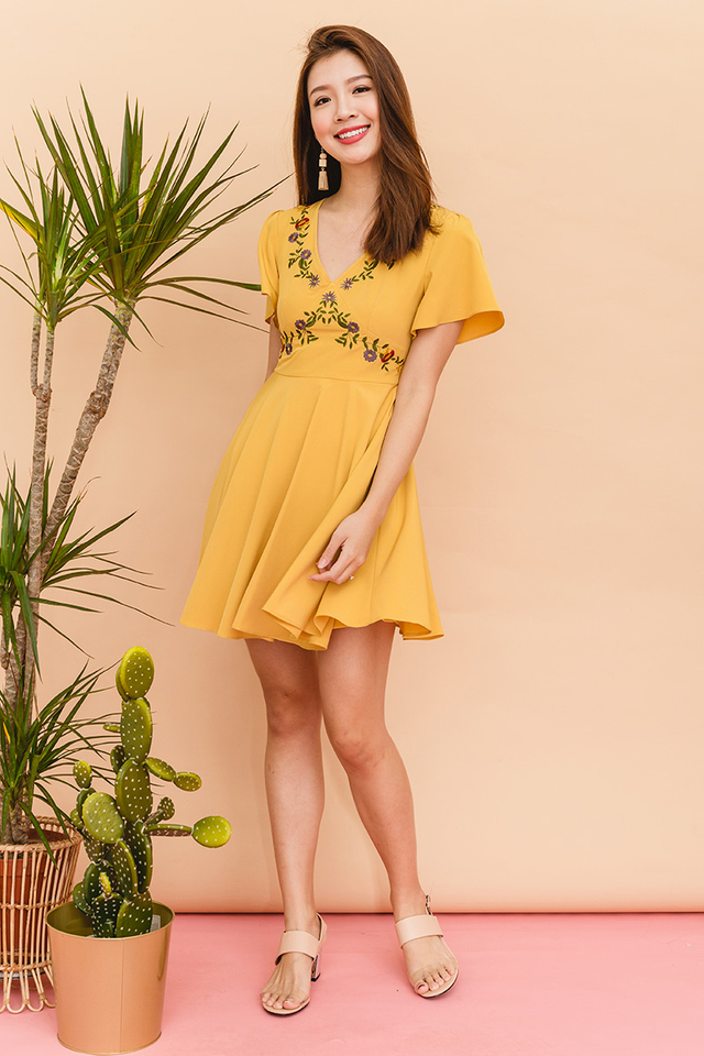 Cordelia Embroidery Dress in Marigold