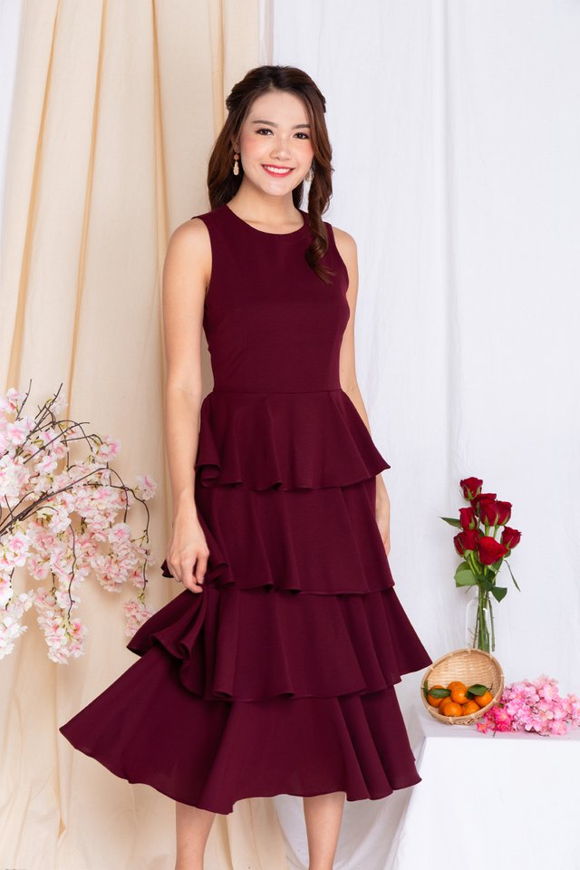 Cupcake Layered Ruffles Midi Dress in Deep Wine
