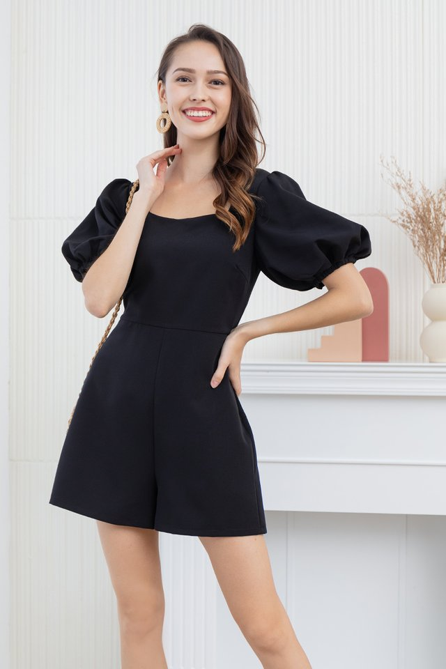 Dacia Puff Sleeve Romper in Black