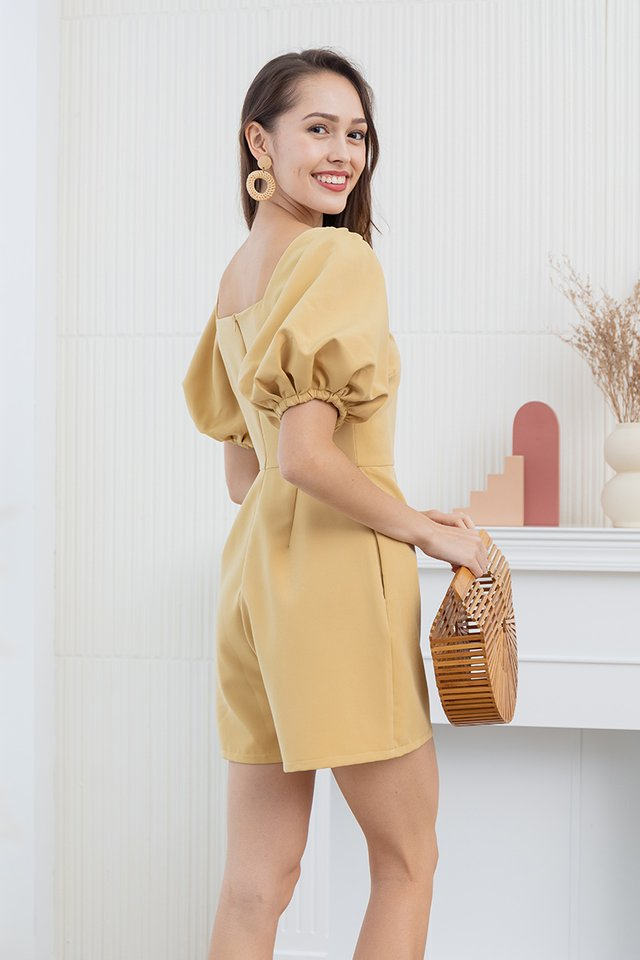 Dacia Puff Sleeve Romper in Yellow