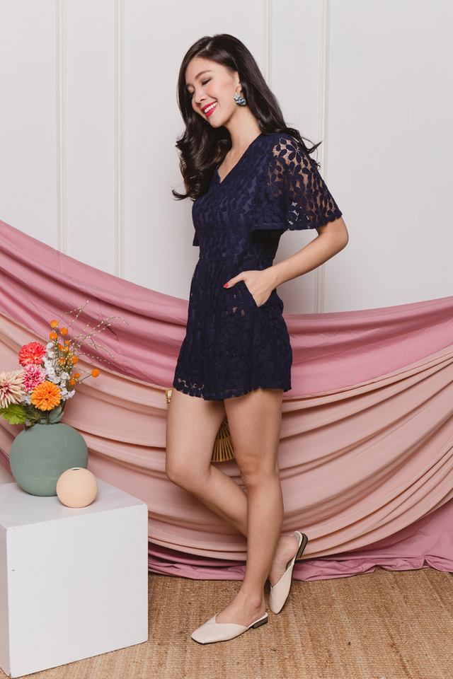Dancing Daisies Lace Romper in Navy