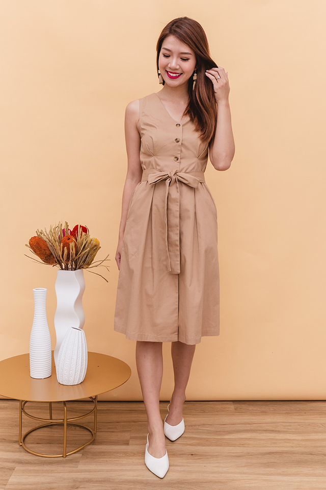 Elyse Trench Midi Dress in Tan