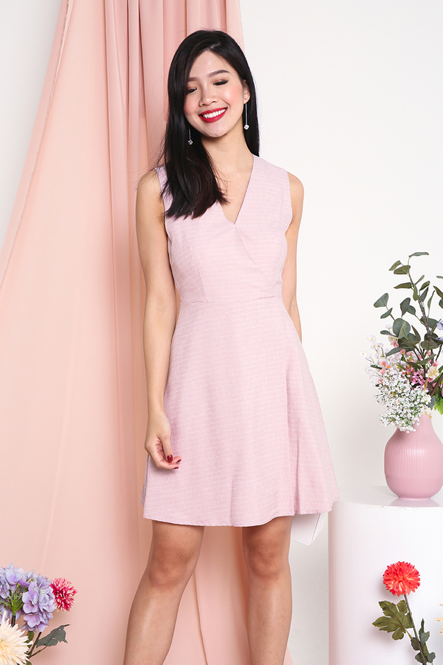 Emery Striped V-Neck Dress in Pink