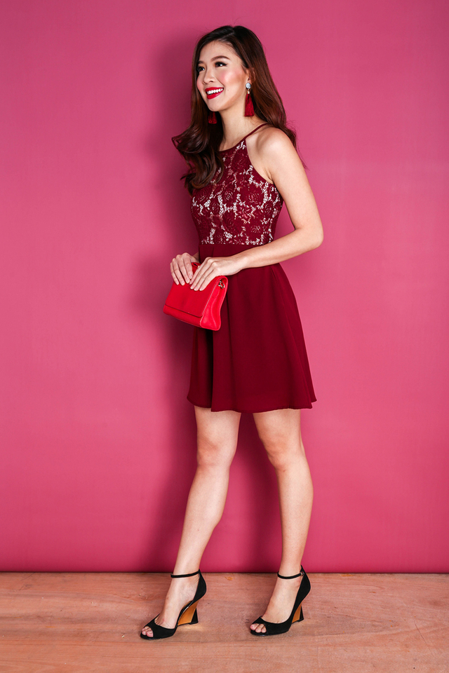 Floral Lace Allure Swing Dress in Wine Red