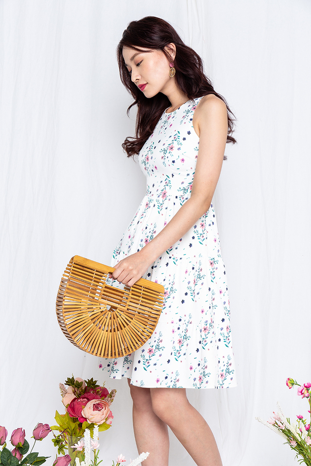 Floral Provence Dress in White