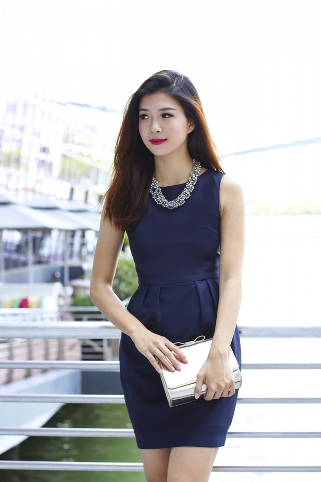 *RESTOCKED 7* Corporate Beauty Midi Dress in Navy