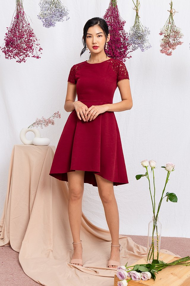 Precious Moments Lace Sleeved Dress in Wineberry