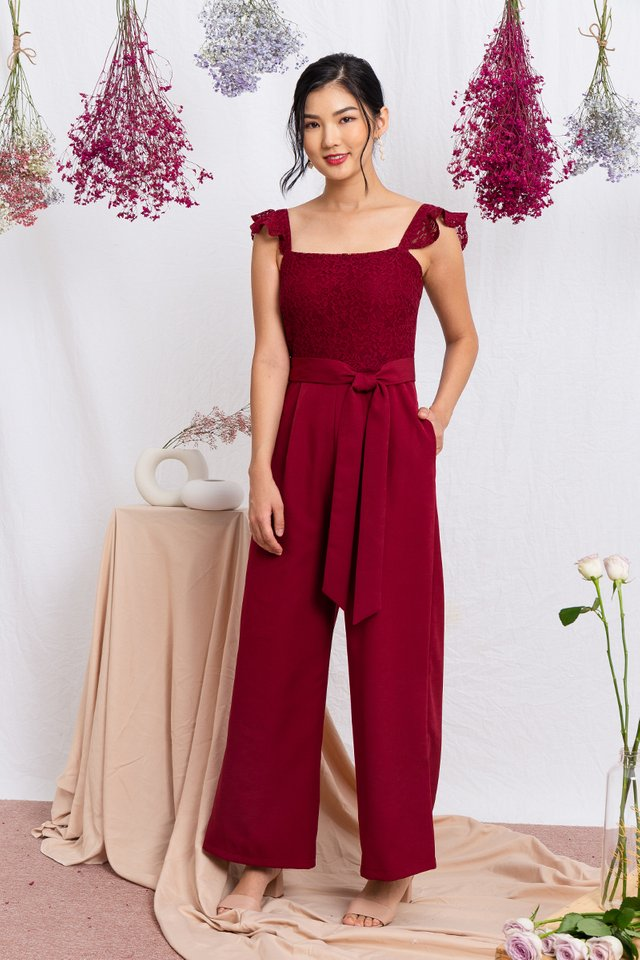 Ellis Flutter Sleeves Jumpsuit in Wineberry