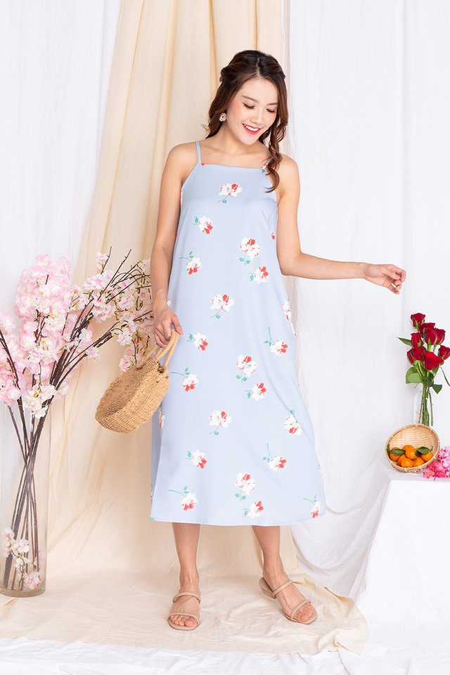 Fortune Florals Tent Dress in Sky Blue