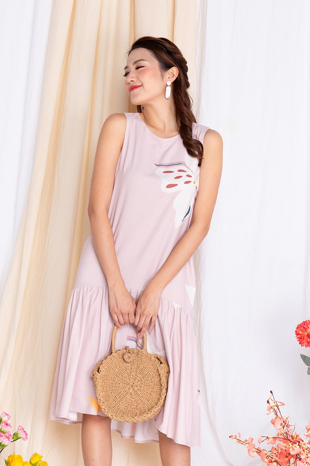 Harmony Drop-Hem Midi Dress in Lady Pink