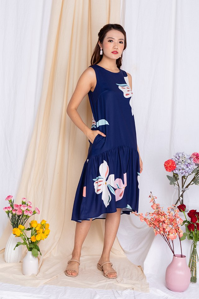 Harmony Drop-Hem Midi Dress in Navy