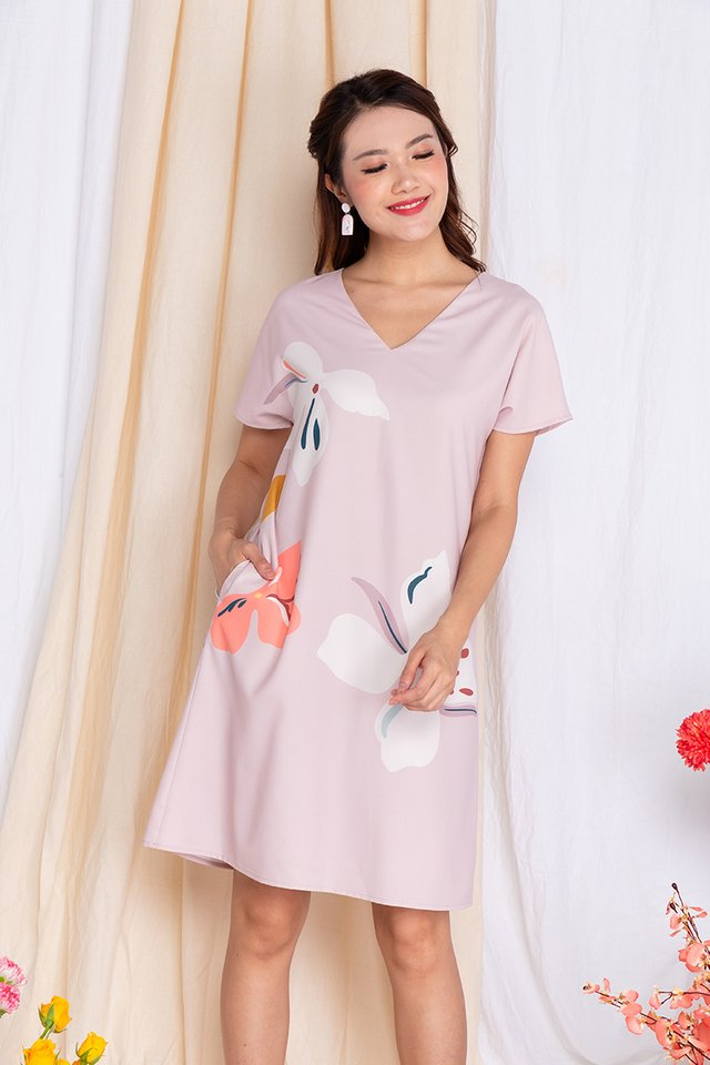 Harmony Sleeved Tee Dress in Lady Pink