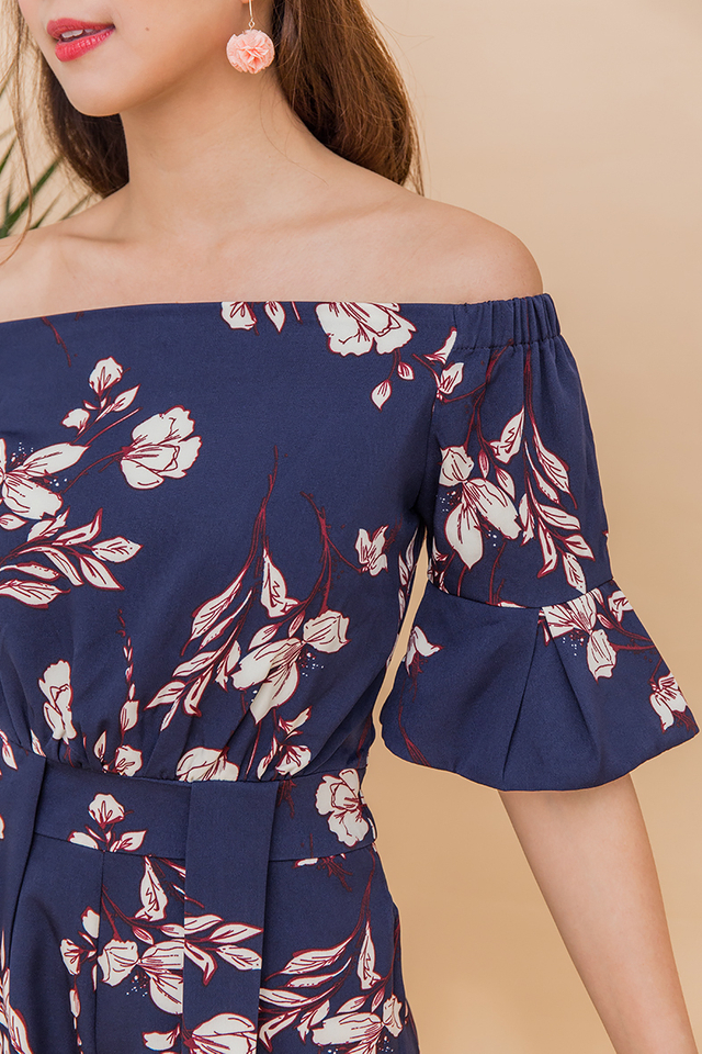 Hey Summer Off Shoulder Romper in Navy Florals