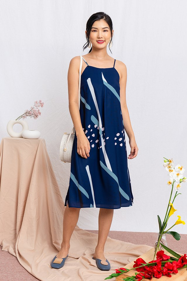 Kaleidoscope Midi Dress in Navy
