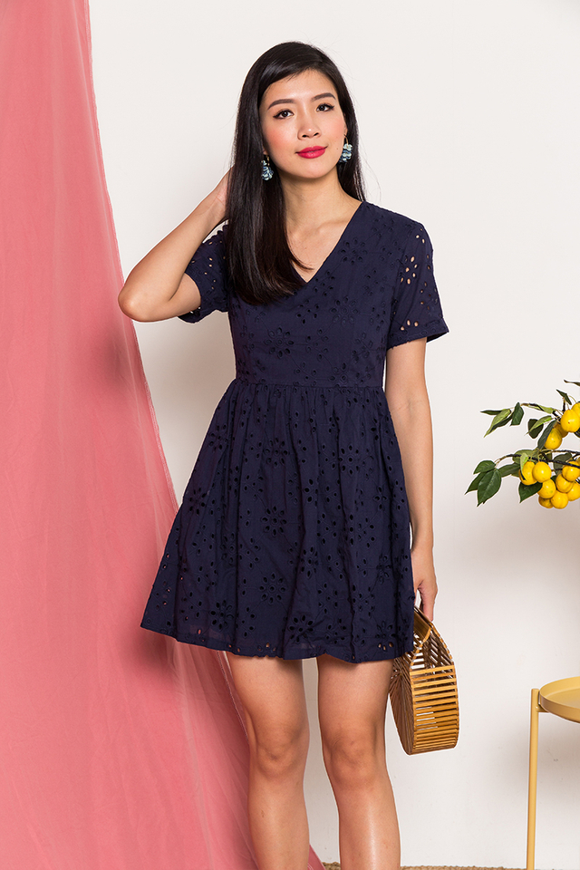 Kora Eyelet Dress in Navy