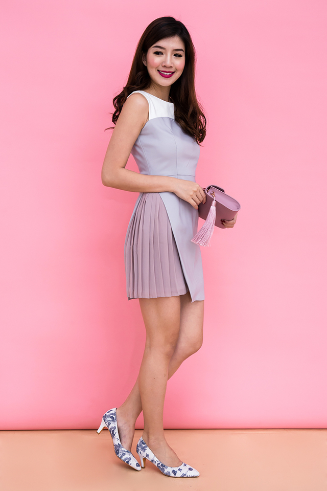 Kristen Pleaty Work Dress in Grey Mauve
