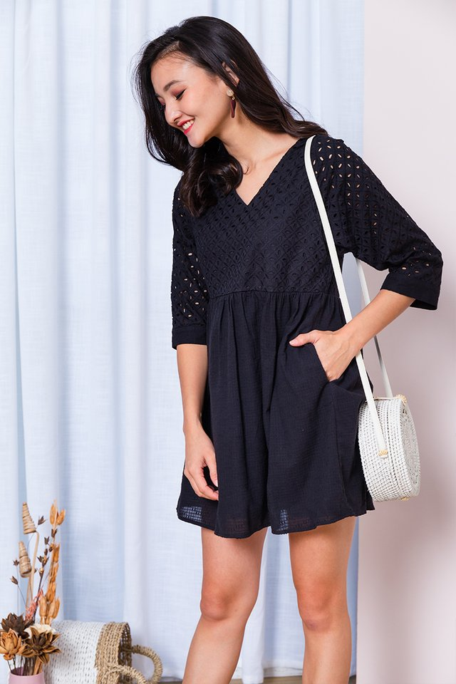 Missy Pixie Eyelet Dress in Black