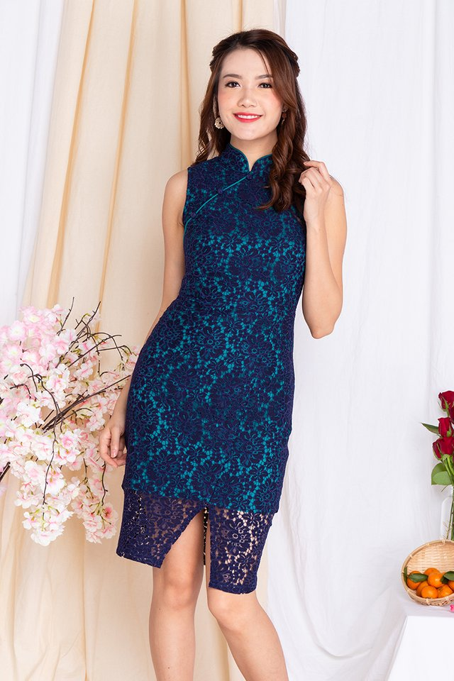 Orient Radiance Lace Cheongsam Dress in Sultry Navy Turquoise
