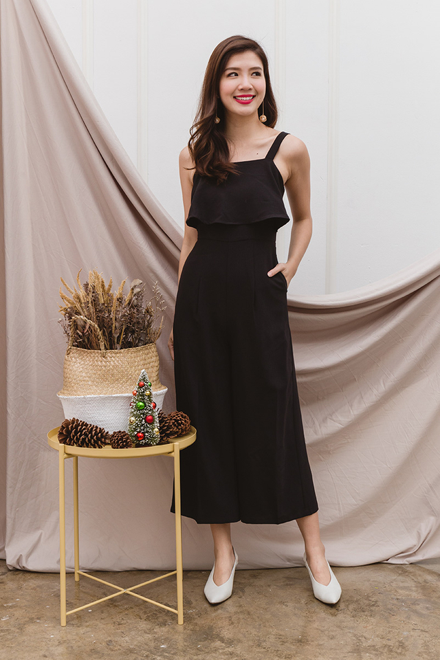 Paige Double-Layer Jumpsuit in Black