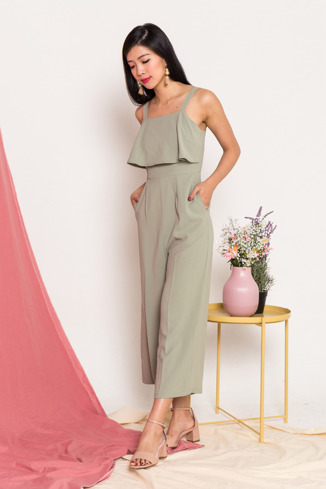 Paige Double-Layer Jumpsuit in Sage Green