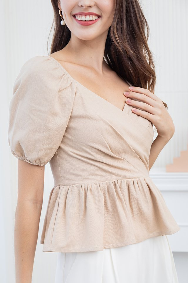 Paige Peplum Top in Sand