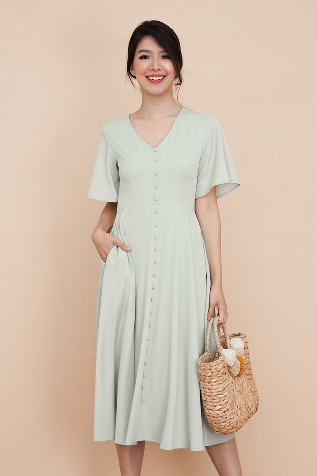 Palette Buttons Dress in Chalk Green