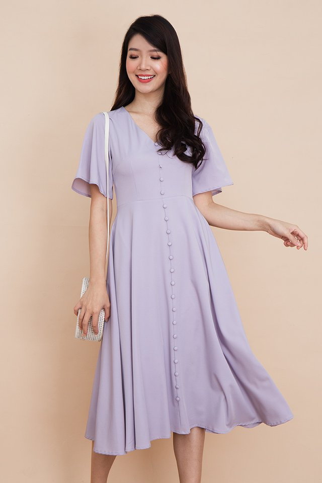 Palette Buttons Dress in Lavender