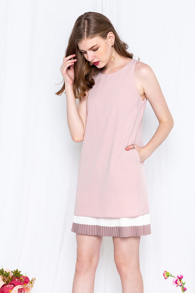 Plead for Pleats Dress in Dusty Pink