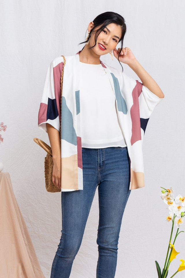 Sora Wide Sleeved Kimono Jacket in White Palette