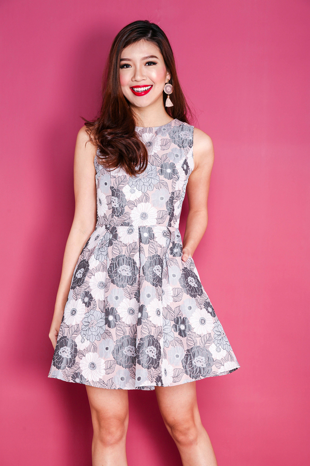 Spring Decadence Jacquard Dress in Pink Blooms