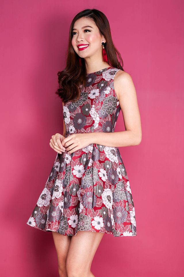 Spring Decadence Jacquard Dress in Red Blooms