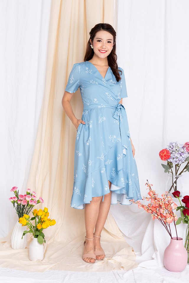 Springtime Soiree Wrap Midi Dress in Bluebird