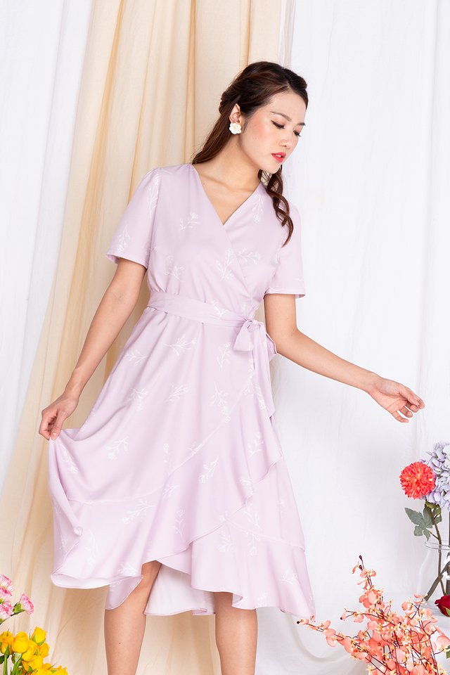 Springtime Soiree Wrap Midi Dress in Lavender