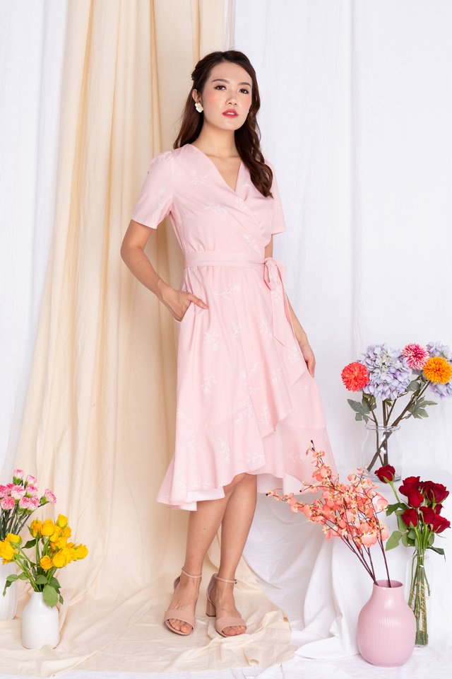Springtime Soiree Wrap Midi Dress in Peach Pink