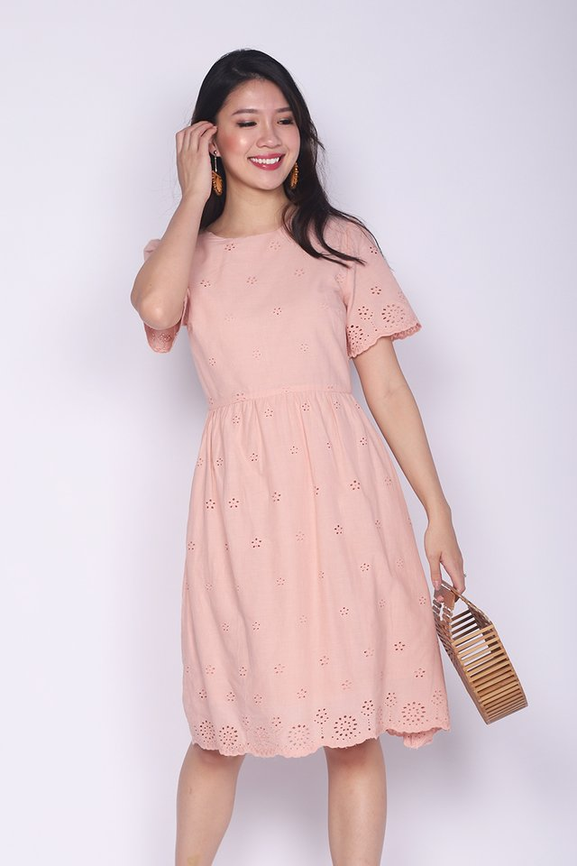 Sweet Maiden Eyelet Dress in Pink Beige