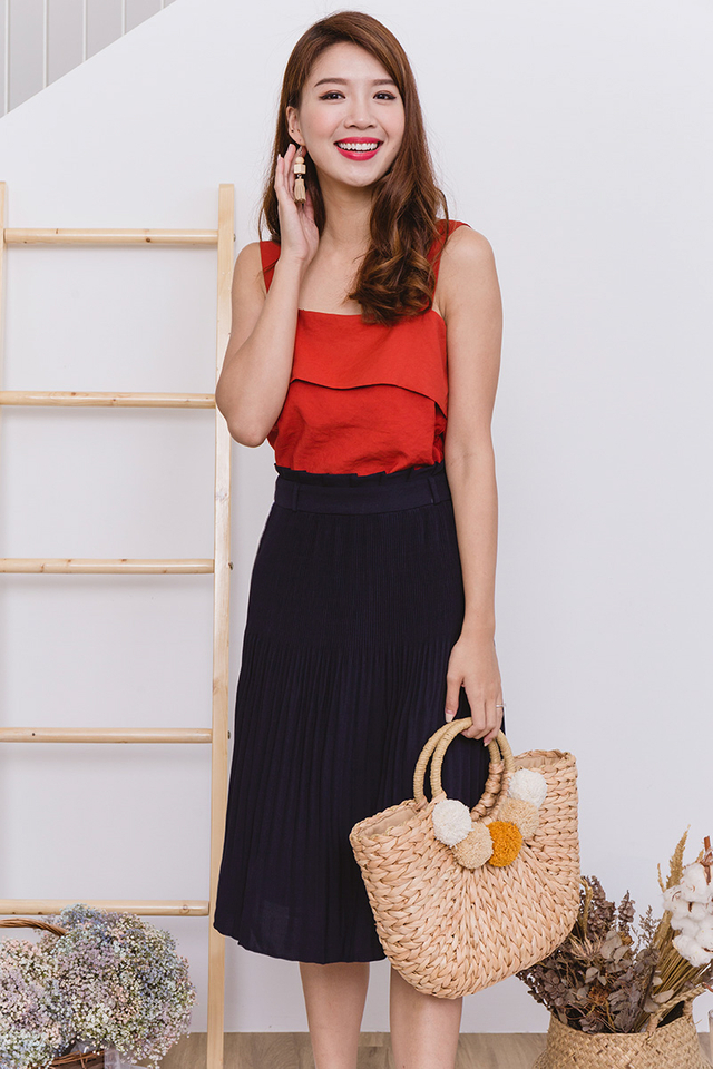 Sweet Treats Paperbag Pleated Midi Skirt in Navy