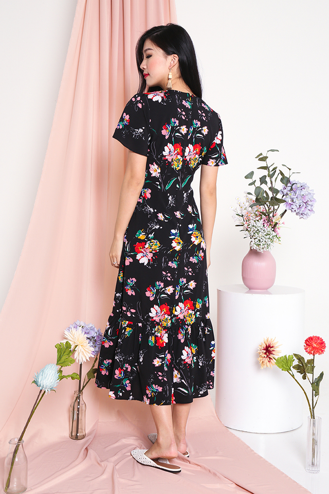Sweetest Blooms Midi Dress in Colourful Pansies
