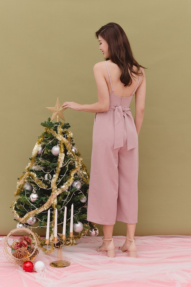 Tasha Culottes Low-back Jumpsuit in Pink